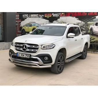 """Защита переднего бампера """"ArowPlus Chrome"""" для Mercedes-Benz X-Class (можно заказать в черном цвете)"""