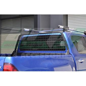 Защитная дуга с защитой заднего стекла в кузов пикапа, цвет черный  (черная сталь 40 х 40 мм , толщина стенки 2 мм)