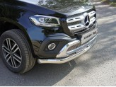 Защита передняя для Mercedes-Benz X-Class, овальная 75 х 42 мм  полир. нерж. сталь