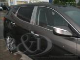 Хромированные накладки на дверные стойки Hyundai Santa-Fe из 6 ч.