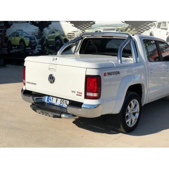 """Задняя подножка """"Titanic Plus Chrome"""" для Volkswagen Amarok с логотипом"""
