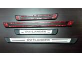 Хромированные накладки для Mitsubishi Outlander на пороги с логотипом из 4 частей, полир. нерж. сталь