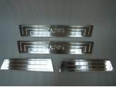 Хромированные накладки для Hyundai iX 35 на дверные пороги с логотипом (нерж.) 4 шт., изображение 2