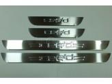 """Хромированные накладки для Kia CEED на дверные пороги с логотипом """"CEED"""" 4 шт."""
