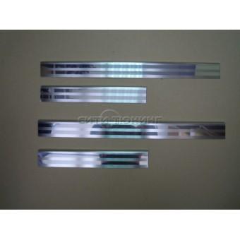 Хромированные накладки для Nissan X-Trail T31 на дверные пороги  (нерж.) 4 шт.