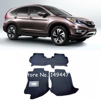 """""""Кожаные"""" коврики для Honda CR-V в салон, цвет черный"""