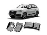 """""""Кожаные"""" коврики из высокосортного полиуретана для Audi Q7 в салон, цвет черный кузов MLB"""