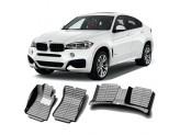 """""""Кожаные"""" коврики из высокосортного полиуретана для BMW X6 в салон, цвет черный, кузов E71, 2008-2014 г."""