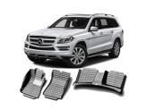 """""""Кожаные"""" коврики из высокосортного полиуретана для Mercedes-Benz GL/GLS в салон, цвет черный"""