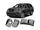 """""""Кожаные"""" коврики из высокосортного полиуретана для Nissan Pathfinder в салон, цвет черный, кузов R52"""