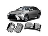 """""""Кожаные"""" коврики из высокосортного полиуретана для Lexus GS в салон, цвет черный, для GS350, кузов GRS196 4WD"""