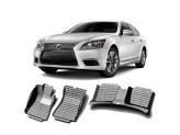"""""""Кожаные"""" коврики из высокосортного полиуретана для Lexus LS в салон, цвет черный, для LS460L\460HL, кузов USF40"""