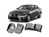 """""""Кожаные"""" коврики из высокосортного полиуретана для Lexus IS 250/350 в салон, цвет черный, кузов GSE20"""