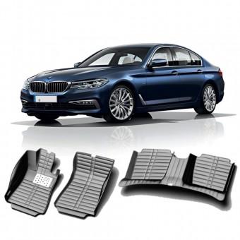 """""""Кожаные"""" коврики из высокосортного полиуретана для BMW 5-Series E60 в салон, цвет черный, 2003-2010 г."""