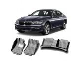 """""""Кожаные"""" коврики из высокосортного полиуретана для BMW 7-Series в салон, цвет черный"""