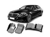 """""""Кожаные"""" коврики из высокосортного полиуретана для Mercedes-Benz S-class в салон, цвет черный, кузов W222 , 2014-"""