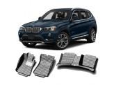 """""""Кожаные"""" коврики из высокосортного полиуретана для BMW X3 в салон, цвет черный для мод. с 2011 г."""