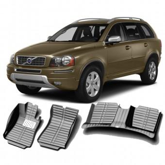 """""""Кожаные"""" коврики из высокосортного полиуретана для Volvo XC 90 в салон, цвет черный"""