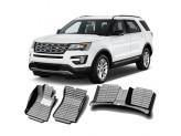 """""""Кожаные"""" коврики из высокосортного полиуретана для Ford Explorer в салон 3-и ряда, цвет черный, кузов U502"""