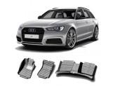 """""""Кожаные"""" коврики из высокосортного полиуретана для Audi A6 в салон, цвет черный, для C7"""