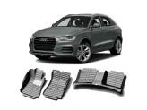 """""""Кожаные"""" коврики из высокосортного полиуретана для Audi Q3 в салон, цвет черный"""
