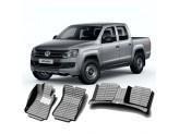 """""""Кожаные"""" коврики из высокосортного полиуретана для Volkswagen Amarok в салон, цвет черный"""