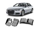 """""""Кожаные"""" коврики из высокосортного полиуретана для Audi A4/S4/RS4 в салон, цвет черный для 8T\B8"""