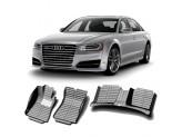 """""""Кожаные"""" коврики из высокосортного полиуретана для Audi A8 в салон LONG, цвет черный, для мод. 2009-"""