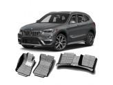 """""""Кожаные"""" коврики из высокосортного полиуретана для BMW X1 в салон, цвет черный, кузов E84"""