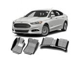 """""""Кожаные"""" коврики из высокосортного полиуретана для Ford Mondeo в салон, цвет черный, кузов BD"""