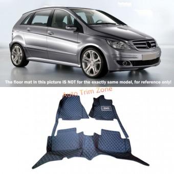 """""""Кожаные"""" коврики для Mercedes-Benz B-class в салон, цвет черный (кузов W245)"""