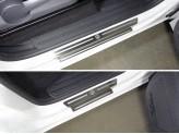 Накладки на пороги (лист шлифованный логотип Volkswagen) полир. нерж. сталь для мод. с 2017 г.