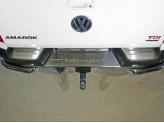 Накладки на задний бампер (лист шлифованный надпись Volkswagen), полир. нерж. сталь для мод. с 2017 г.