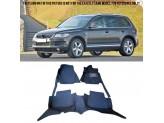 """""""Кожаные"""" коврики из высокосортного полиуретана для Volkswagen Touareg в салон, цвет черный"""