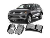 """""""Кожаные"""" коврики из высокосортного полиуретана для Volkswagen Touareg в салон, цвет черный, кузов 7P5\92A"""