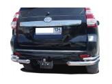 Защита заднего бампера для Toyota Landcruiser Prado 150, полированная нержавеющая сталь 40/70 мм