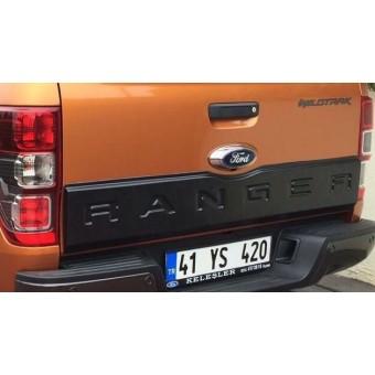 Накладка на откидной борт для Ford Ranger T6 с логотипом (цвет черный, пластик ABS)