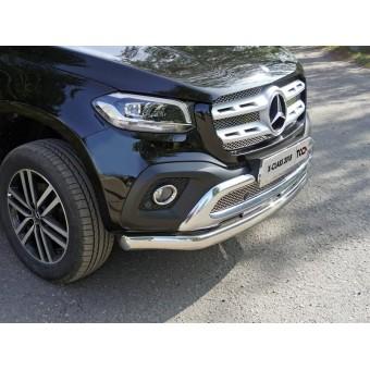 Защита передняя нижняя для Mercedes-Benz X-Class (овальная) 75х42 мм (полир. нерж. сталь)