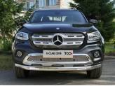 Защита передняя. нижняя для Mercedes-Benz X-Class с светодиодными фонарями 75 х 42 мм