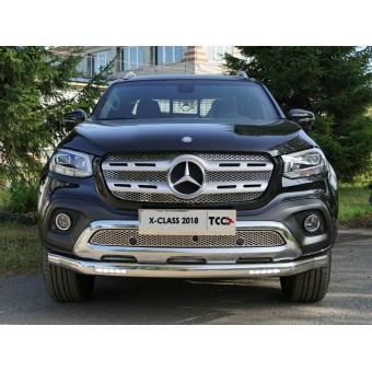Защита передняя. нижняя для Mercedes-Benz X-Class с светодиодными фонарями (овальная) 75 х 42 мм (полир. нерж. сталь)