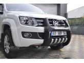 """Передняя защита- кенгурин для Volkswagen Amarok  """"PASIFIC LED"""" с светодиодными фонарями"""