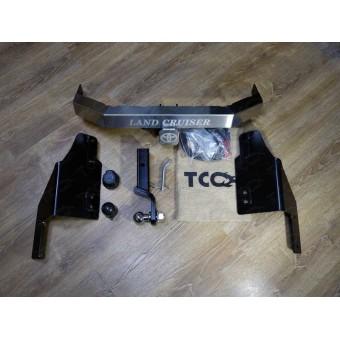Фаркоп для Toyota Landcruiser 200 (оцинкованный, надпись Land Cruiser, шар E, провода, розетка, декоративная заглушка, чехол для крюка)