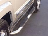 Подножки для Mazda CX 7 трубообразные с площадкой полир.нерж.сталь 76 мм