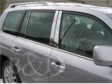 Хромированные накладки на дверные стойки Toyota Landcruiser 200