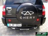 """Задняя подножка для Chery Tiggo, модель """"TITANIC"""" с логотипом."""