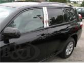 Хромированные накладки на дверные стойки Toyota Highlander