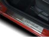 Хромированные накладки для Nissan Qashqai на дверные пороги с логотипом полир. нерж. сталь