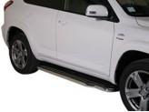 Пороги для Toyota RAV4, полир. нерж. сталь для мод. с 2010 г.,короткая база