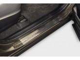 """Хромированные накладки для Toyota RAV4 на пороги с надписью """"Toyota RAV"""" из 4-х частей"""