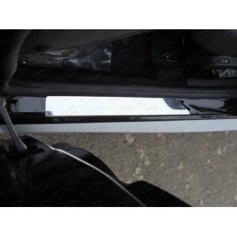 Хромированные накладки для Nissan Terrano на пороги, полир.нерж. сталь (комплект из 2 шт)